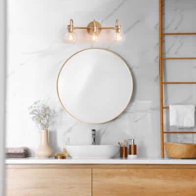 Stockton Modern 3-Light Gold Wall Mounted Sconces with Clear Glass Shades for Bathroom or Powder Room