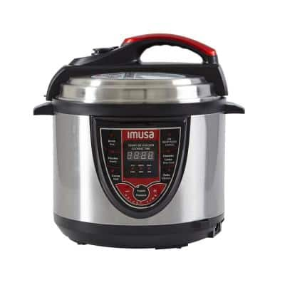 5 Qt. Silver and Red Electric Pressure Cooker with Locking Lid