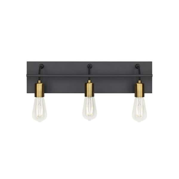 Lbl Lighting Tae 24 In W 3 Light Black Industrial Metal Bathroom Vanity Light With Aged Brass Socket Cups And Black Cords Ba1082blab The Home Depot
