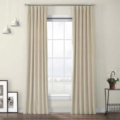 Macchiato Beige Velvet Rod Pocket Room Darkening Curtain - 50 in. W x 84 in. L