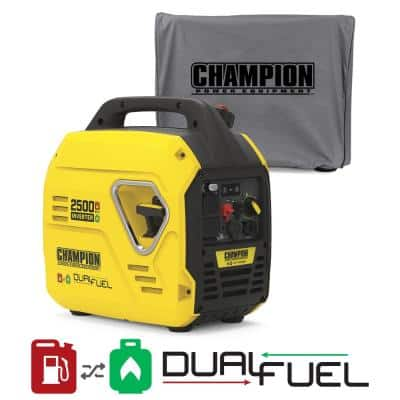 2500-Watt Ultralight Portable Gas and Propane Dual Fuel Recoil Start Inverter Generator with Cover