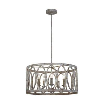 Patrice 5-Light Deep Abyss Rustic Farmhouse Hanging Drum Candlestick Chandelier with Open Oval Cage Shade