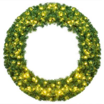 48 in. Green Cordless Pre-Lit LED Artificial Christmas Wreath with 200 LED Light and Timer