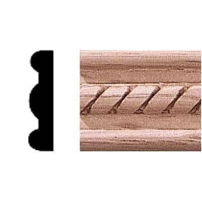 1/4 in. x 1 in. x 84 in. Oak Wood Embossed Rope Moulding