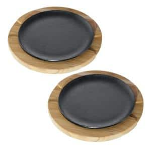 Churrasco 9 in. Cast Iron Sizzle and Serve Pan in Black 4-Pack