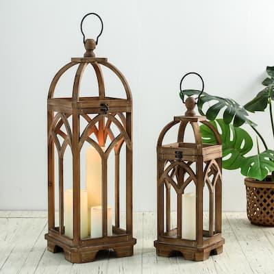 Farmhouse Natural Brown Wooden Church Window Lanterns (Set of 2)