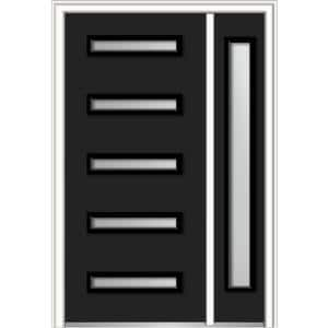 51 in. x 81.75 in. Davina Frosted Glass Right-Hand Inswing 5-Lite Modern Painted Steel Prehung Front Door with Sidelite