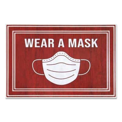 """Message Red/White 24 in. x 36 in. """"Wear A Mask"""" Commercial Floor Mat"""