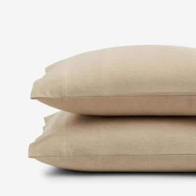 Legends Hotel Bromley Yarn-Dyed Velvet Wheat Cotton Flannel King Pillowcase (Set of 2)
