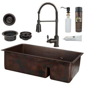 All-in-One Dual Mount Copper 33 in. 70/30 Double Bowl Short Divide Kitchen Sink with Spring Faucet in ORB
