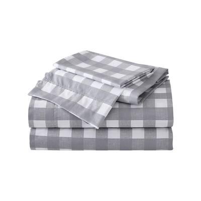Lakehouse Plaid 4-Piece Gray T300 Cotton Full Sheet Set