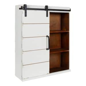 Rafferty 7 in. x 22 in. x 28 in. White/Brown Wood Floating Decorative Cubby Wall Shelf With Brackets