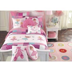 Pink Little Dancer Ballerina Tutu Princess Butterfly Floral Dot Embroidery Patchwork 3-Piece Cotton Queen Quilt Bed Set