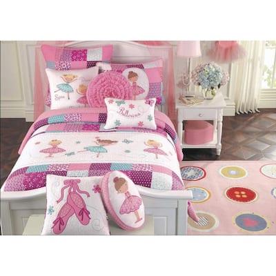 Pink Little Dancer Ballerina Tutu Princess Butterfly Floral Dot Embroidery Patchwork 2-PieceCottonTwin Quilt Bedding Set