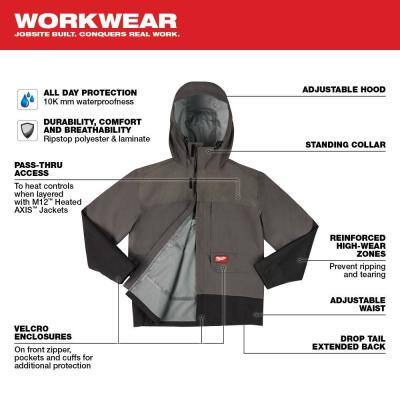 Men's X-Large Gray HYDROBREAK Layer Rain Shell Jacket