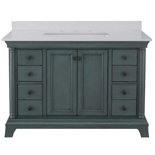 Home Decorators Collection Strousse 49 In W X 22 In D Vanity In Distressed Blue Fog With Engineered Stone Top In Ice Diamond With White Sink Srbvt4922d The Home Depot