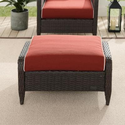 Kiawah Wicker Outdoor Ottoman with Sangria Cushions