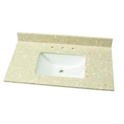 37 in. W Engineered Marble Single Vanity Top in Piatra Beige with White Sink