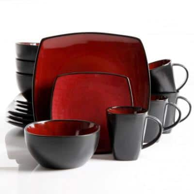 Soho Lounge 16-Piece Contemporary Red Stoneware Dinnerware Set (Service for 4)