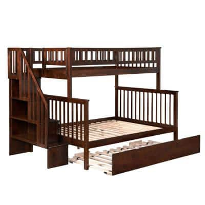 Woodland Staircase Bunk Bed Twin over Full with Full Size Urban Trundle Bed in Walnut