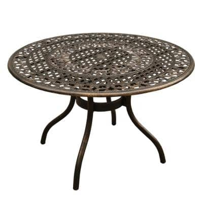 Ornate Traditional 48 in. Round Aluminum Outdoor Dining Table Mesh Lattice in Bronze