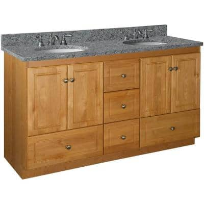 Ultraline 60 in. W x 21 in. D x 34.5 in. H Simplicity Vanity Double Basin with Center Drawers in Natural Alder