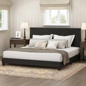 Pessac Black King Upholstered Bed Frame