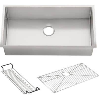 Strive Undermount Stainless Steel 35 in. Single Bowl Kitchen Sink Kit with Included Accessories