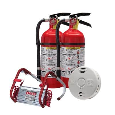 2-Story Home Fire Safety Kit, 10 Year Battery Smoke/CO Detector with 2-Pack Fire Escape Ladder & Pro Fire Extinguisher