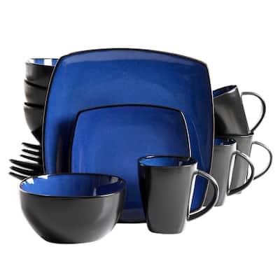 Infinite Glaze 16-Piece Modern Blue Stoneware Dinnerware Set (Service for 4)