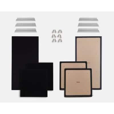 1 in. H x 24 in. W x 48 in. L (Pack of 2) and 1 in. H x 24 in. W x 24 in. L (Pack of 4) Black Fabric Absorption Panel