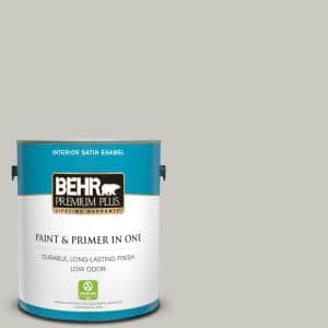 Behr Premium Plus 1 Gal 790c 3 Dolphin Fin Satin Enamel Low Odor Interior Paint And Primer In One 705001 The Home Depot