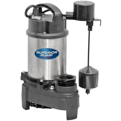 1 HP Submersible Stainless Steel-Cast Iron Sump Pump with Vertical Float Switch