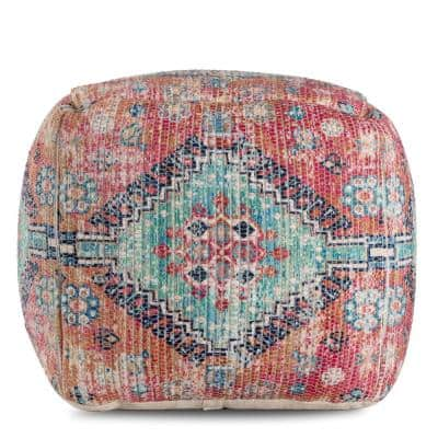 20 in. x 20 in. x 20 in. Hopi Hapi Red and Green Pouf