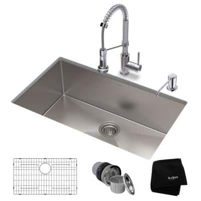 Standart PRO All-in-One Undermount Stainless Steel 30 in. Single Bowl Kitchen Sink with Faucet in Chrome