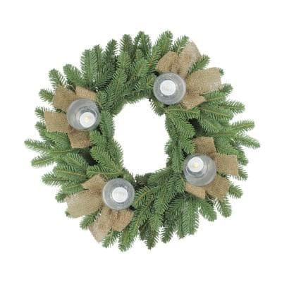 21 in. Artificial Pine and Burlap Votive Candle Holder