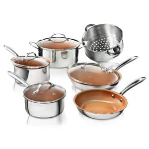 Stainless Steel 10-Piece Pro Chef Non-Stick Ti-Cerama Premium Cookware Set with Lids