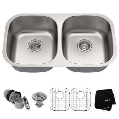 Premier Undermount Stainless Steel 32 in. 50/50 Double Bowl Kitchen Sink