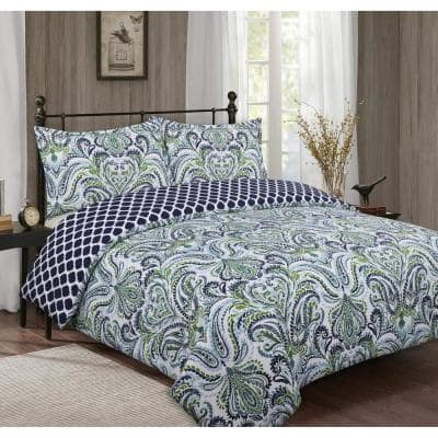 Provence Paisley 3-Piece Blue and White Cotton Full/Queen Comforter Set
