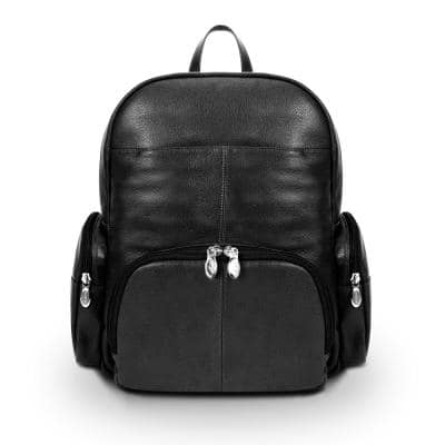 McKlein Cumberland 15 in. Black Pebble Grain Calfskin Leather Dual Compartment Laptop Backpack