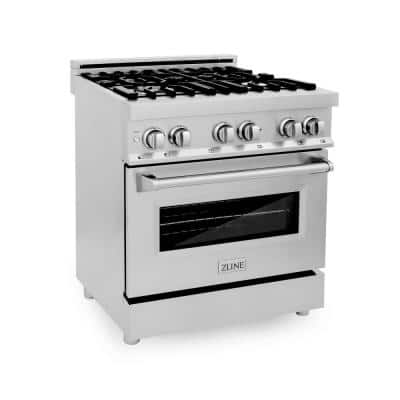 ZLINE 30 in. 4.0 cu. ft. Dual Fuel Range with Gas Stove and Electric Oven in Stainless Steel (RA30)