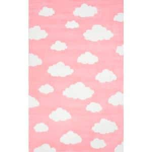 Clouds Playmat Pink 5 ft. x 8 ft.  Area Rug