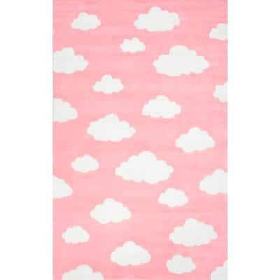 Clouds Playmat Pink 6 ft. x 9 ft. Area Rug