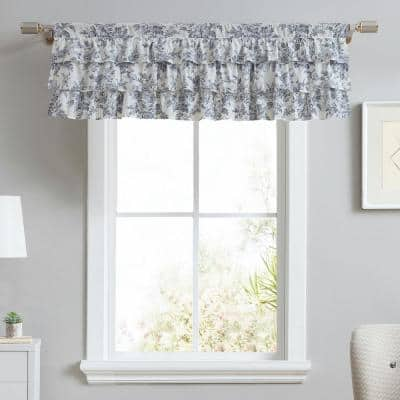Annalise 50 in. L x 18 in. W Ruffled Floral Cotton Pole Top Valance in Light Gray