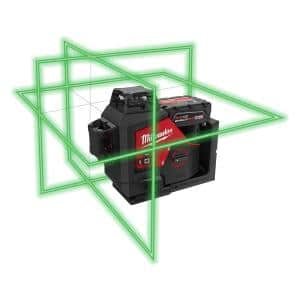 M12 12-Volt Lithium-Ion Cordless Green 250 ft. 3-Plane Laser Level Kit with One 4.0 Ah Battery, Charger and Case