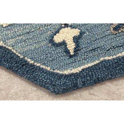 Zeno Teal Blue 7 ft. 3 in. Octagon Oriental Medallion Wool Area Rug