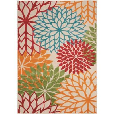Aloha Green 5 ft. x 7 ft. Floral Modern Indoor/Outdoor Area Rug