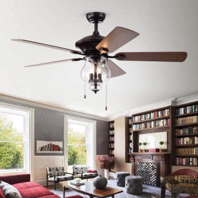 Topher 52 in. Indoor Antique Bronze 5-Blade Hand Pull Chain Ceiling Fan with Light Kit