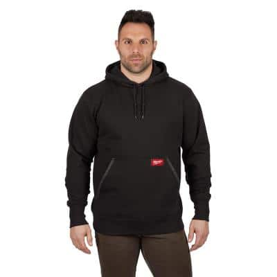 Men's Large Black Heavy Duty Cotton/Polyester Long-Sleeve Pullover Hoodie