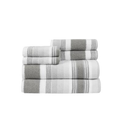 Montauk Grey 6-Piece Cotton Towel Set